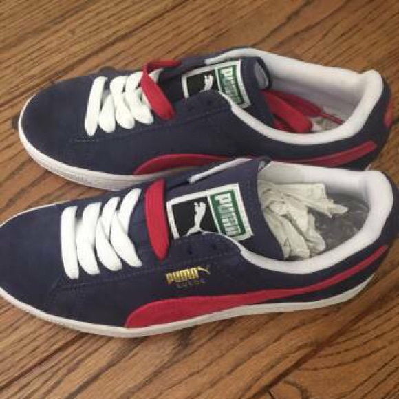 29e787cd1afd New Puma Suede Classic Navy Blue   Red Ladies 7.5